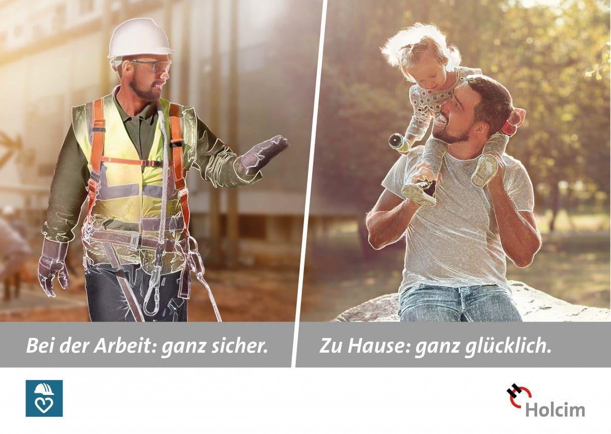 Mit diesem Plakat erinnert Holcim auf verschiedenen Baustellen in Deutschland an die Bedeutung der Arbeitssicherheit, wie auch auf der Baustelle MesseCity in Köln.