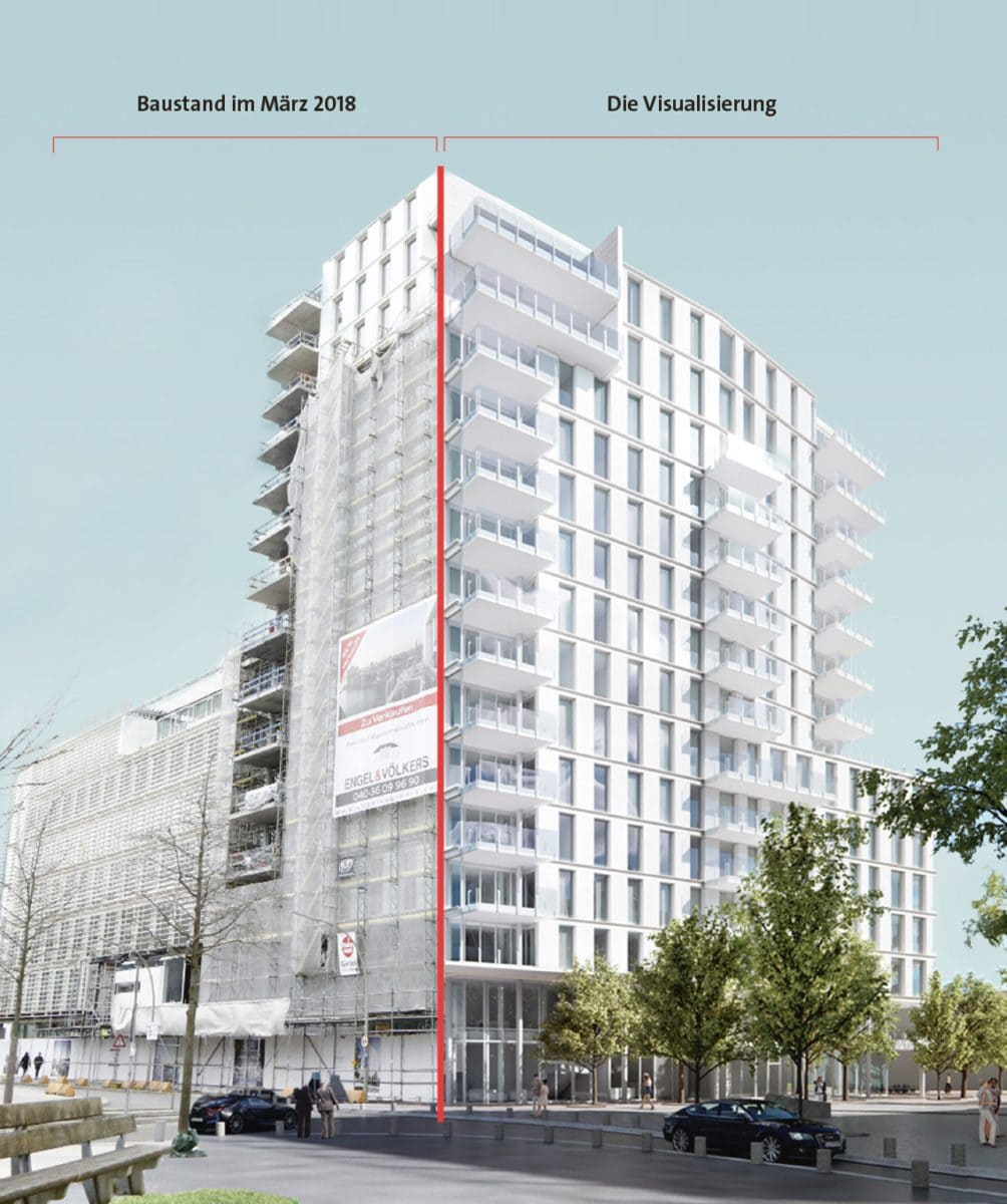"""Dazu gehört das 15-geschossige """"STRANDHAUS by Richard Meier"""". Das Ensemble befindet sich am östlichen Strandkai auf einem rund 3.100 Quadratmeter großen Grundstück in unmittelbarer Nähe zum Marco-Polo-Tower."""