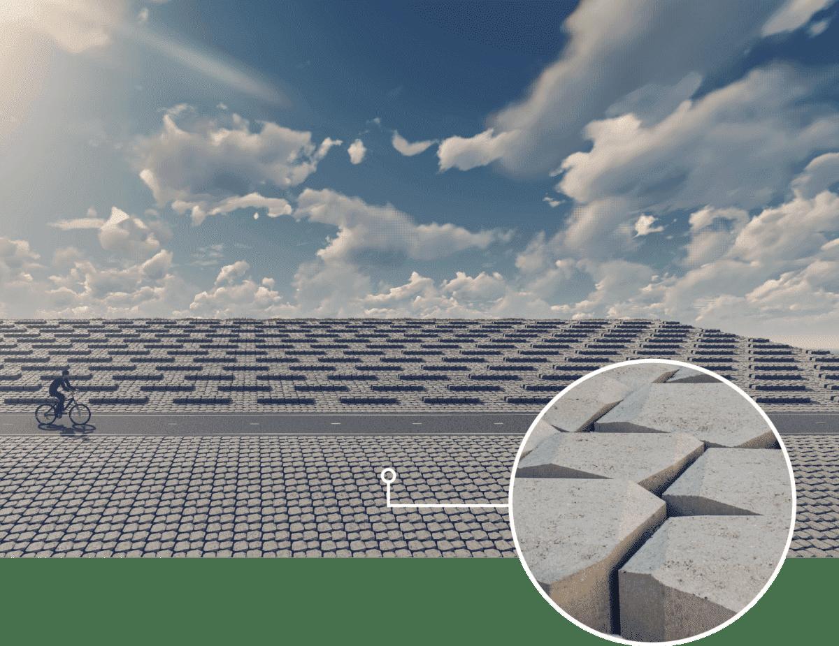 """Die robusten Basalton Quattroblocks von Holcim werden die neue Deckschicht des Damms bilden. Die Blocks werden unter anderem in einer Hoch-Tief-Einstellung versetzt eingebaut und """"bremsen"""" so die Wellen, wenn das Wasser diesen Teil des Damms erreicht."""