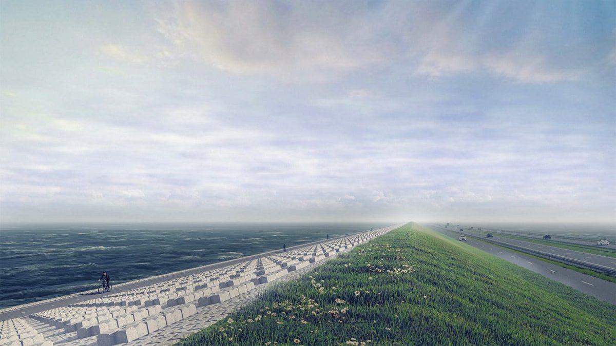 Die Visualisierung der Krone zeigt, wie der Damm in einigen Jahren aussehen wird. Hier ist der Bauabschnitt zwischen Kornwerderzand und Friese Kust zu sehen.