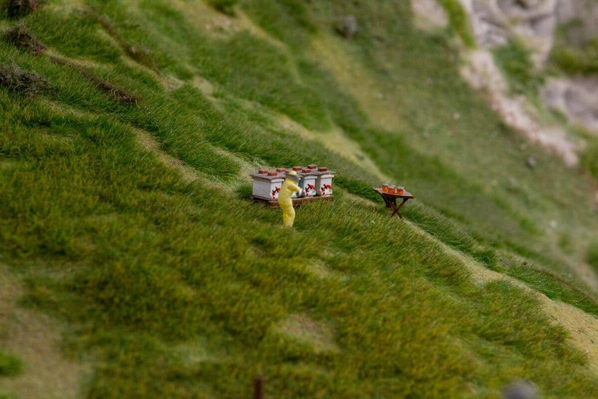 Wer genau hinsieht, entdeckt die winzigen Honiggläser auf dem Tisch.