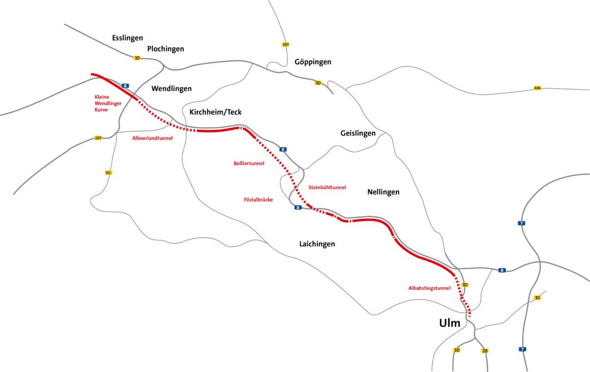Der Albvorlandtunnel beginnt auf Höhe von Wendlingen am Neckar. Der Tunnel passiert Kirchheim/Teck und stößt kurz vor Jesing wieder an die Oberfläche. Er liegt durchgehend südlich der Autobahn.