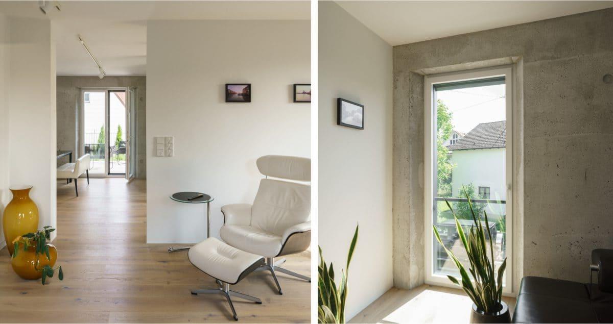 Die Sichtbetonwände aus Infraleichtbeton geben dem Haus einen besonderen Charakter.