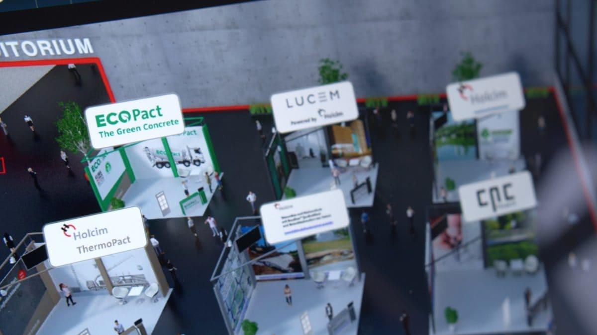 Die Teilnehmer nutzten die Zeit nach den Vorträgen, um sich an den Infoständen der virtuellen Messe zu unterschiedlichen Holcim Produkten und Projekten zu informieren.