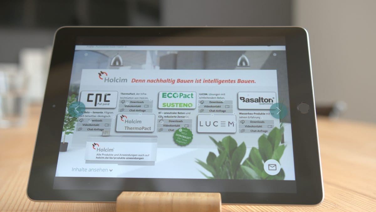 Wer bei Holcim vorbeischaut, bekommt Infos zu mehreren innovativen Produkten.