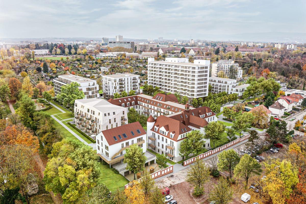 verdichtetes Wohnen in grüner Umgebung. Diese Synthese ist mit dem Ensemble Hildegardis in Mainz gelungen.